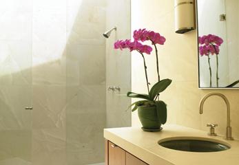 Красивый цветок в ванной