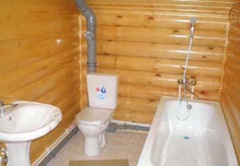 Ванная в бревенчатом доме